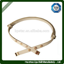 Ladies Skinny Genuine Leather Metal Automatic Buckle Belt For Dress/Cintos Moda Mulher Cintos de PU