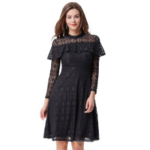 Kate Kasin Women's Ruffled Long Sleeve High Neck Lace A-Line Dress KK000505-1