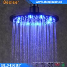 Badezimmer Round Black Keine Batterie Wasser Power LED Duschkopf