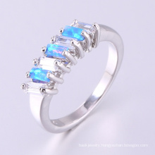 Latest design simple engagement jewelry gift blue opal party rings