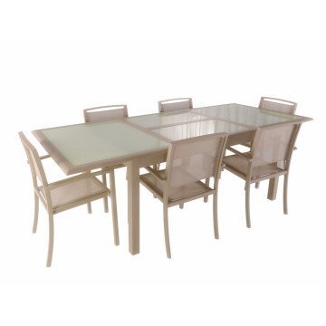 Hot-selling attractive for Patio Furniture Sets Alu extended dining table with tempered glass export to Nepal Wholesale