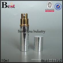 Atomizador de aluminio del perfume del espray 10ml, mini botella de perfume recargable del viaje