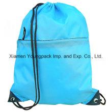 Zipper Front Pocket Promocionais Custom impermeável Nylon Drawstring Backpack