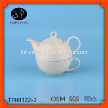 Chá de porcelana para um conjunto, pote de chá com copo, bule de cerâmica e copo, conjunto de chá de grés por atacado