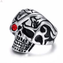 2017 nouveau anneau de conception de crâne en cristal en acier inoxydable punk pour les hommes