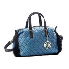 Blue Genuine Fur Trimmed Quilted Nylon Tote Bag with PU Lea