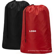 Wholesale custom oversize durable reusable nylon drawstring laundry bags polyester laundry bag for hotel