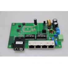 PCB board for industrial POE switch EMC 4 port RJ45+1 port single fiber 15.4W/30W+ ieee802.3af/at