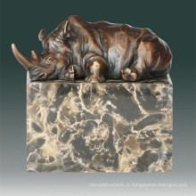 Sculpture en bronze animal Sculpture en rhinocéros Deco Statue en laiton Tpal-272