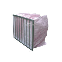 High Efficient F7 Pocket Pink Air Filter Bag Large Air Flow With Aluminium Alloy