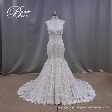 Piso comprimento vestidos de noiva sereia