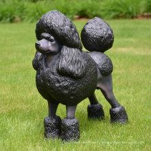 statue de chien caniche bronze