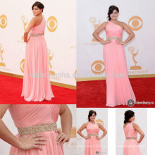 Ariel Winter Emmy 2013 Red Carpet Celebrity Kleid Rosa Ein-Schulter Criss Cross Falten Beaded Chiffon Mantel Abendkleid NB0794