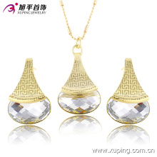 Xuping Women Latest Model Fashion Jewelry CZ Crystal Eements Jewelry Set -63671