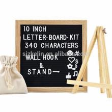 Quadro de carvalho 10 x 10 feltro carta placa com suporte de madeira