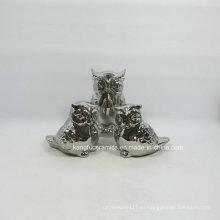 Lovely Owl Glitter Electroplating Decoración de cerámica
