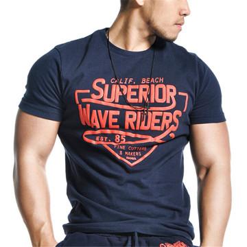 Men 100% Cotton Short Sleeve Silkscreen Print T Shirt