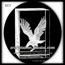 K9 3D Laser Kristall Rechteck mit fliegendem Adler