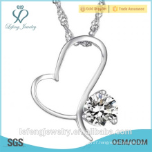 Elegant jewelry necklace heart heart pendant necklace with purpur crystal