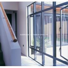 Revestimento de pó cinzento acabado em pó revestido em alumínio e janelas de vidro duplo