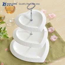 Herzform Hübsche Design Plain White Fine Ceramic Personalisierte China Drei Schichten Obst Kuchen Platten, Einzigartige Dessert Platten