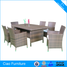 Outdoor Rattan 6 Seaters Dining Table Set