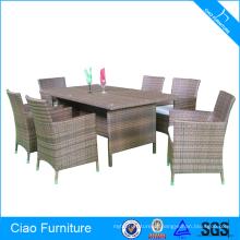 Conjunto de mesa de jantar ao ar livre Rattan 6 Seaters