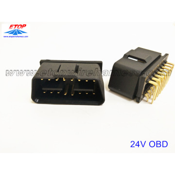 J1962 OBD 24V-12V connector met rechter angel pin