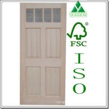 Porta da madeira de pinho do painel liso da fábrica / madeira
