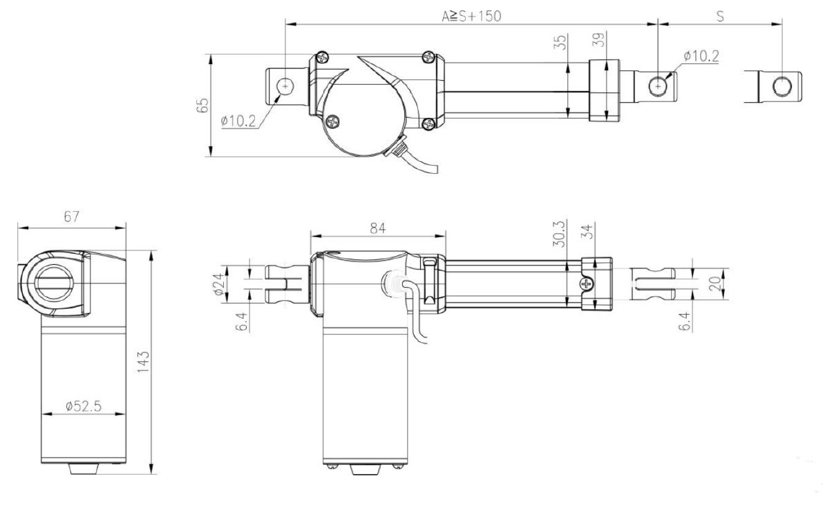 Linear Actuator Dimention