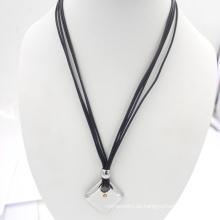 Silberne rostfreie Schmucksache-Wachs-Seilart und weise Halskette