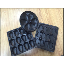 265mm Diameter Restaurant Use Round Black Plastic Trays for Oysters with Divider in Food Grade for International Exporting