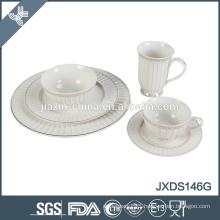 Porcelain round embossment design dinner set with gold line decal