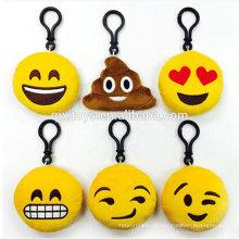 Großhandelsplüschschlüsselring heißer verkaufender netter Entwurf emoji Schlüsselring populäre angefüllte Emoticonschlüsselringspielwaren