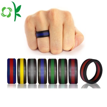 Double Colour Heren / Dames Laag Silicone Zwart / Zilver Ringen