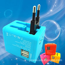 2 USB Travel Adapter Available for Mobile/PC Tablet/Digital Camera Portable Power (JX-313)