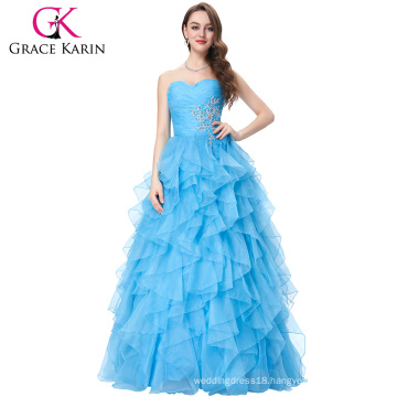 Grace Karin Strapless Long Blue Prom Ball Gowns Quinceanera Dresses CL3411-3