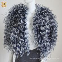 2016 Новый натуральный натуральный страусиный меховой меховой меховой куртке многоцветный куртка для женщин