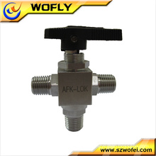 stainless steel high pressure 3000psi 3-way ball mini valve for gas application