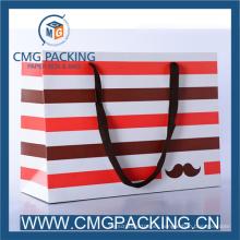 Elegant Color Stripe Paper Bag for Packaging Gift or Shopping
