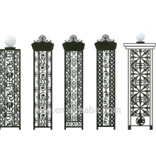 cast iron fence with various patterns and styles