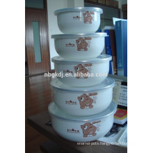 5 sets cute decals enamel ice bowl with PE lid