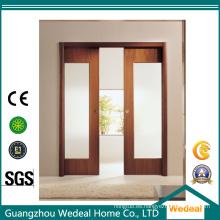 Puerta corrediza de vidrio puerta de madera francesa para habitación / hotel / proyecto
