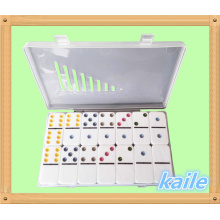 Double 6 colorful paint white domino with plastic box