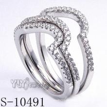 925 Silber Zirkonia Schmuck mit Frauen Kombination Ring (S-10491)