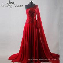 2016 de lujo que rebordea los vestidos de noche rojos sin mangas largos cristalinos de la gasa sin espalda de los vestidos de noche QY-1206