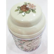 Beige Floral Tea Tin Can