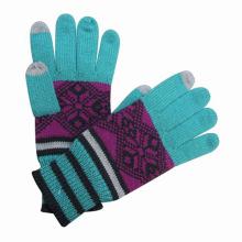 Damenmode Jacquard gestrickte Touch Screen warme Handschuhe (YKY5427)