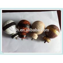 Home Decorativas resina Ball Finials, Curtain Rod End Caps