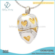 Moda gravada creme coração jóias pingente